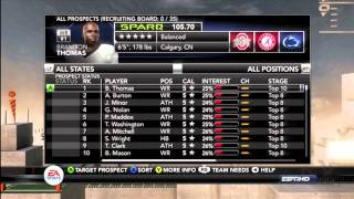 NCAA Football 12 Tips: How to setup your Recruit Board in Dynasty
