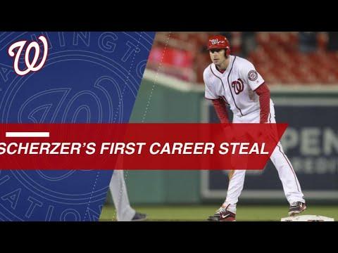 Scherzer lines a hit, steals second