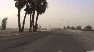 8 April 2013 Downtown Dust Storm, Yuma, Arizona drive across Colorado River in I-8 Freeway