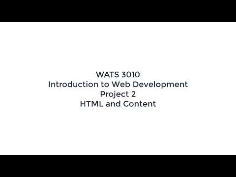 Project 2 HTML And Content