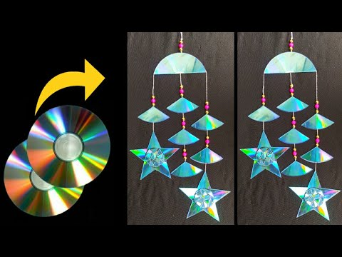 how-to-make-wall-hanging-with-waste-cds-||-old-cd-craft-idea-diy-cd-room-decoration-idea-||-artideas