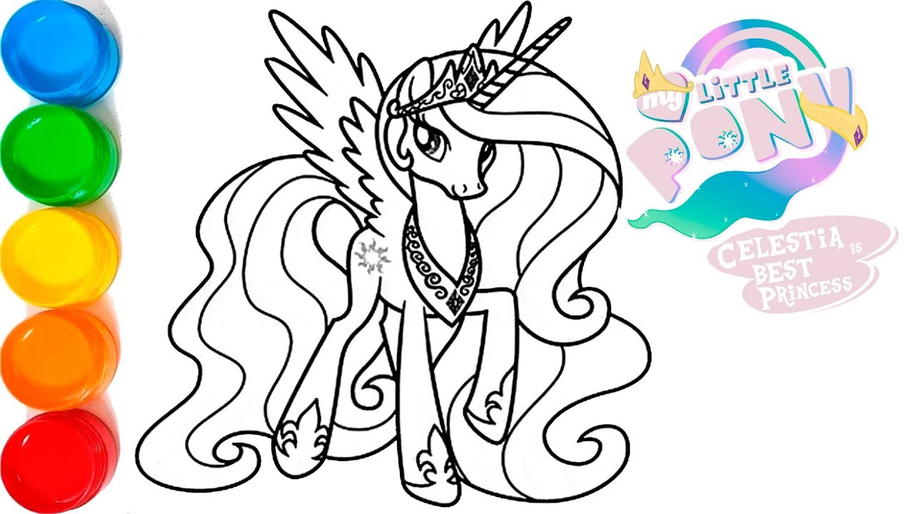 My Little Pony Princess Celestia Coloring And Drawing For Kids Toddlers Glitter Mlp Coloring Page Youtube