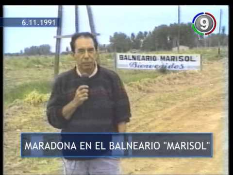 Canal 9 Bahía Blanca - Maradona insulta a Cachero en Balneario Marisol 1991