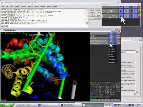 Using PyKnot to verify the stevedore's knot (a six-crossing knot) in the protein with PDB code 3bjx