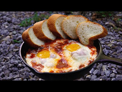 [4K] 산 속에서 에그인헬 만들기 / 캠핑요리 / 지옥에서 온 계란 / Eggs In Hell / Camping Cooking / キャンプ料理 / Eating Sound