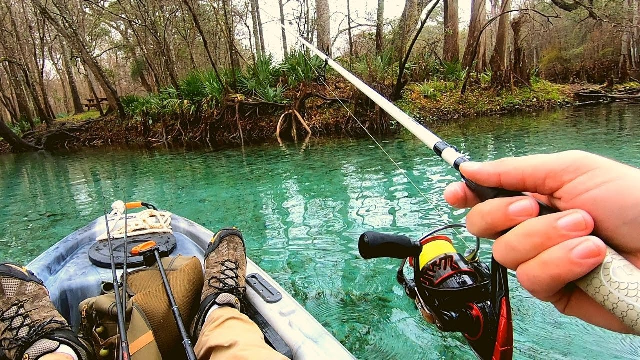 Fishing in the CLEAREST WATER I have ever Fished in!!   Ginnie Springs