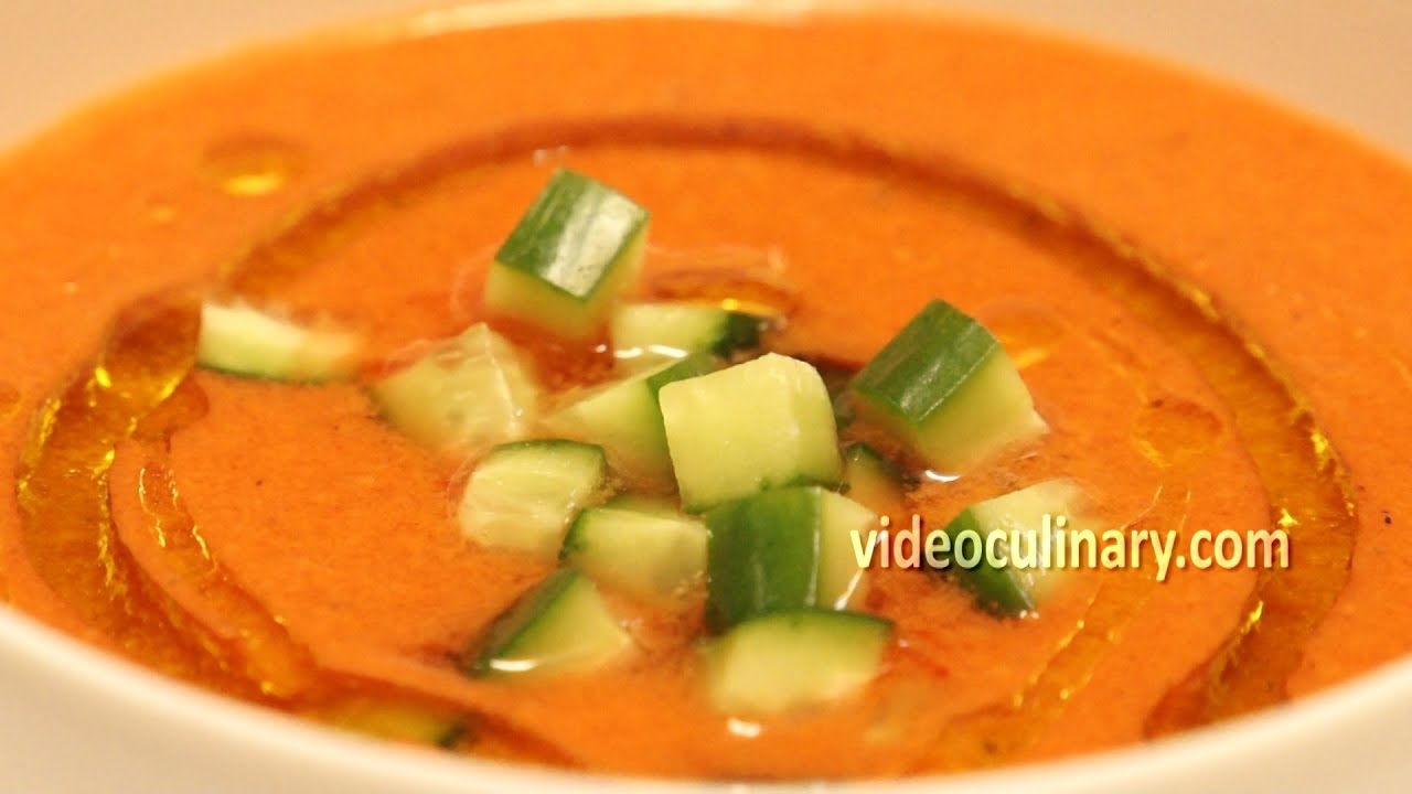 Gazpacho andaluz traditional spanish soup recipe youtube forumfinder Image collections