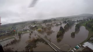 Westpac Rescue Helicopter aerial flood footage  06-June-2016 (a)