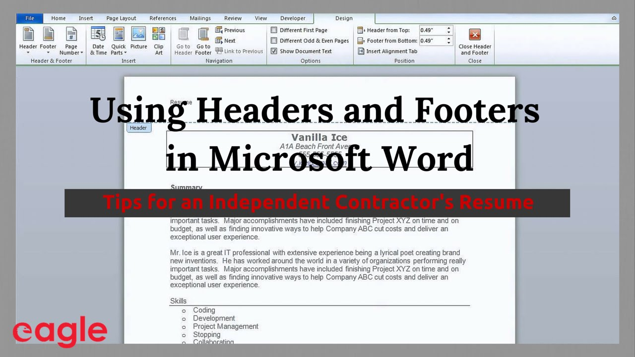 MS Word Tip: Using Headers and Footers in Your Resume - YouTube