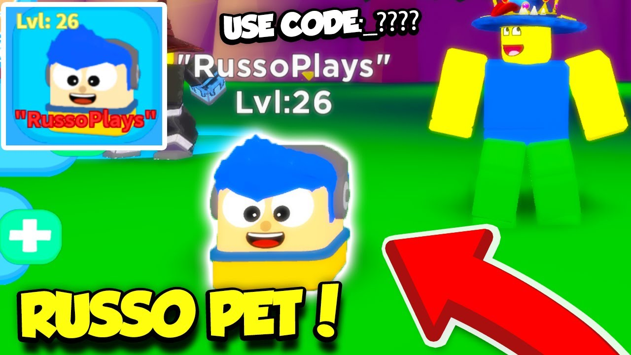 Roblox Pet Simulator Russoplays The Creator Gave Me An Exclusive Russoplays Pet In Noob Simulator 2 Code Roblox Youtube