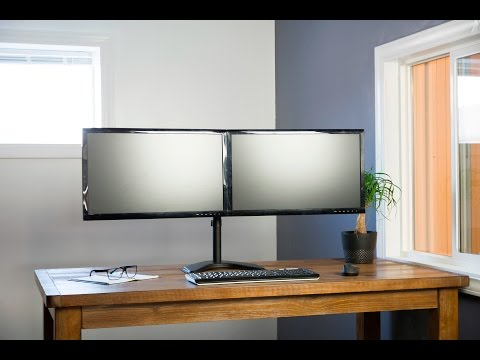 VIVO Dual Monitor Setup Free-Standing Articulating Computer Screen Mount Desktop Stand (STAND-V002F)