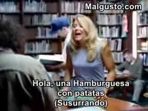 Blonde woman in the library