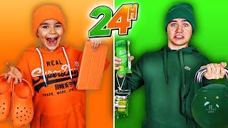 24H VIVRE MANGER UNE SEULE COULEUR ! Orange VS Vert (One Color 24H Challenge)