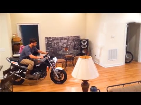 he tried to do a wheelie inside his apartment..