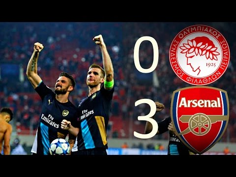 Olympiakos vs Arsenal 0:3 Olivier Giroud Goal All Goals & Highlights 09/12/2015