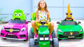 Sasha Pretend Play with Vegetables | Kids ride on toy cars - proper nutrition for Children