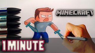 How to draw Herobrine from Minecraft step by step drawing lesson preview