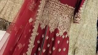 Mehroon Bridal Jacket Gown