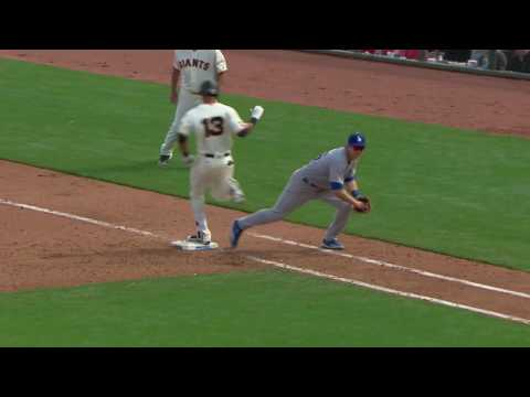 2016 Dodgers: Yimi Garcia fields Ehire Adrianza's bunt, throws him out from his knees(4.07.16)