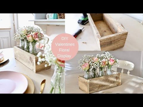 Valentines day DIY floral table centrepiece using old palette wood