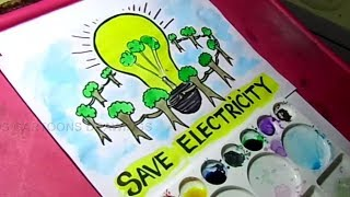 How to Draw Save Electricity / Save Energy poster Drawing for Kids