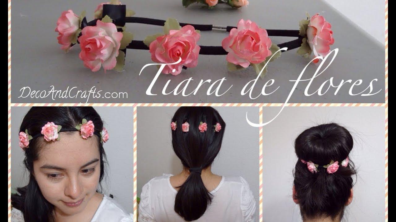 corona diadema de flores elastica flower crown youtube - Como Hacer Diademas De Flores