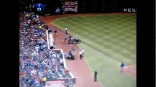 Instantaneous,ear piercing Lightning strike sends Rangers/Twins scurrying for safety (July 9, 2012)
