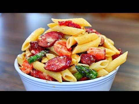 Creamy Sausage Alfredo Pasta with Vegetables - Easy Sausage Alfredo Pasta Recipe