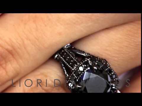 BDR-203 - 4.00 Carat Natural Black Diamond Engagement Ring 14k Black Gold Vintage Style