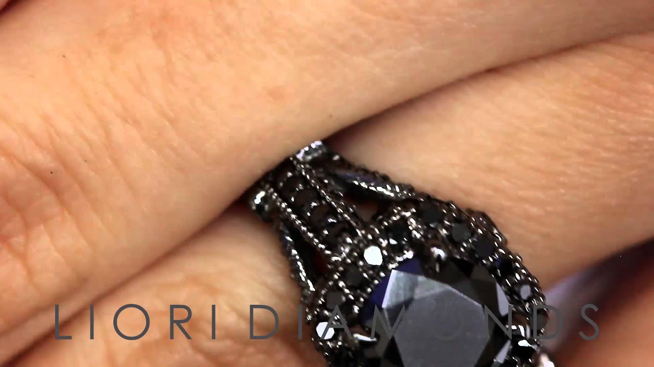BDR 203 4 00 Carat Natural Black Diamond Engagement Ring 14k