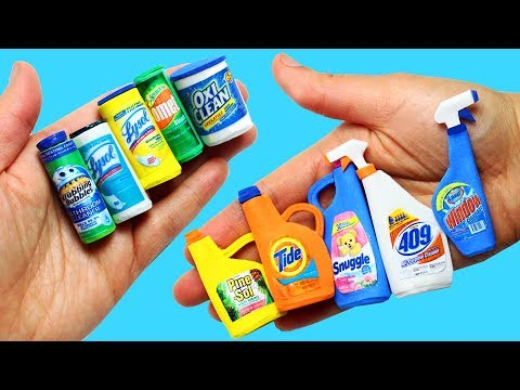 How to make Miniature Cleaning Products- 10 Easy DIY Miniature Doll Crafts - simplekidscrafts
