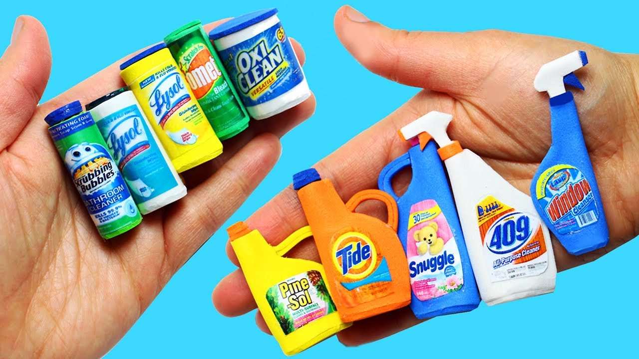 How to make Miniature Cleaning Products 10 Easy DIY