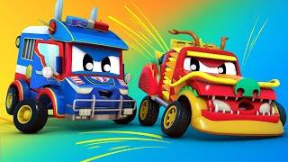 Video truk untuk anak-anak - MOBIL MONSTER di taman bermain! - Truk Super di Kota Mobil!