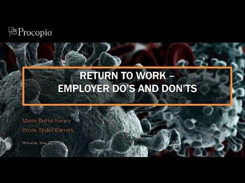 Procopio Webinar COVID 19 Return To Work May 28 2020