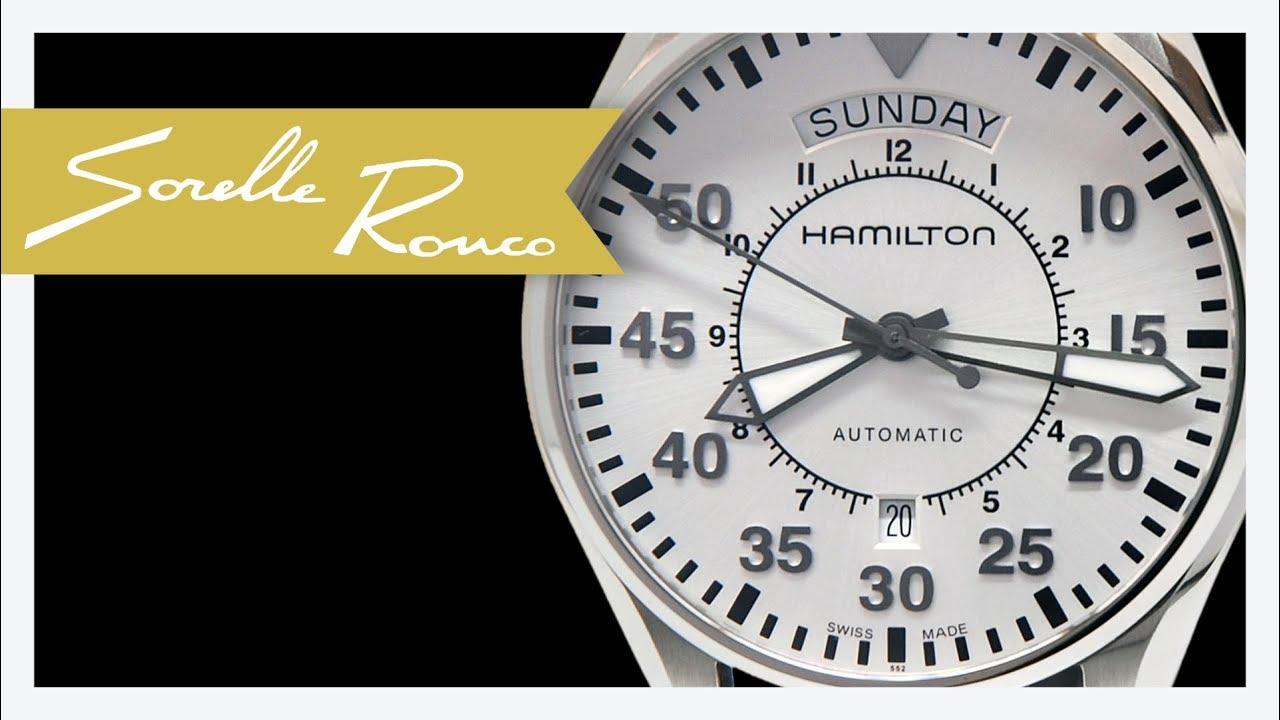 5a39a7ef546 Hamilton Khaki Aviation Pilot Day Date Automatic 42 mm Silver - YouTube