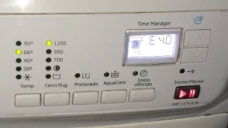 """Error E40 lavadora Electrolux (EWF 127410 W), Solución. [Washing machine. Solution].(Si observáis que al poner la lavadora a funcionar al poco tiempo os aparece el error """"E40"""" en la pantalla, puede significar un mal cierre de la puerta o un fallo ..., 2014-09-08T12:49:40.000Z)"""