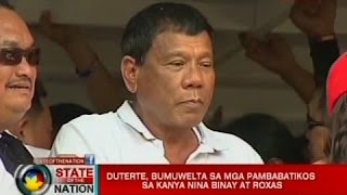SONA: Duterte, bumuwelta sa mga pambabatikos sa kanya nina Binay at Roxas