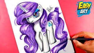 MY LITTLE PONY MLP- como dibujar a rarity- how to draw my little pony, how to draw rarity