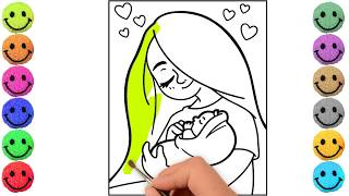 Drawing and coloring Mother and Child