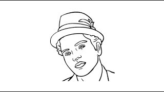How to draw Bruno Mars face drawing step by step