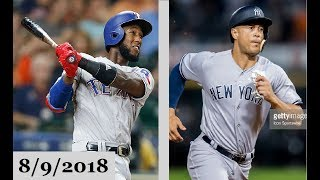 Texas Rangers vs New York Yankees Highlights || August 9, 2018