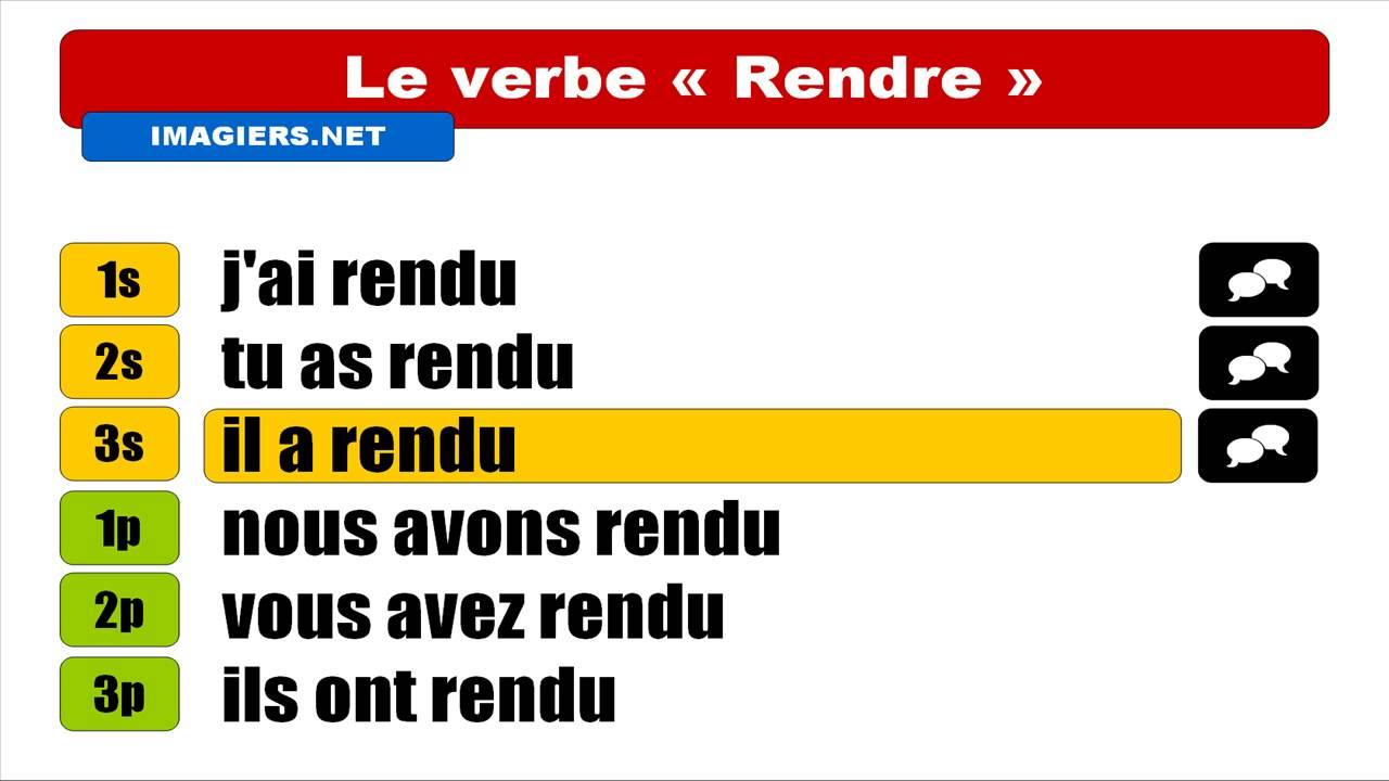 Conjugaison Francaise Rendre Indicatif Passe Compose Youtube
