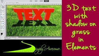 Learn Photoshop Elements - 3D Text with Shadow on Grass Field
