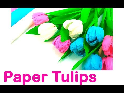 9 Paper Tulips. How to make Paper Flowers