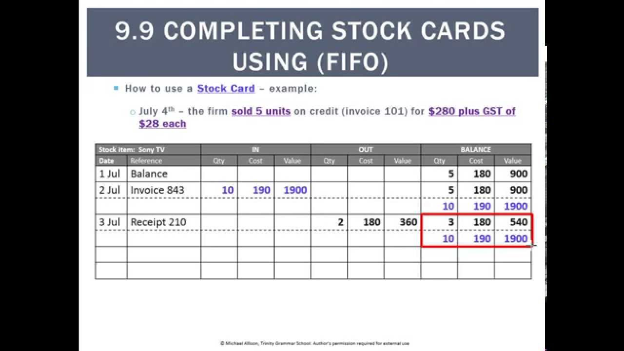 99 Completing Stock Cards Using Fifo Youtube