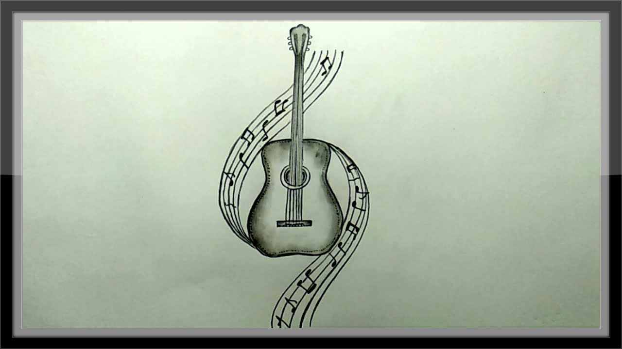 Pencil drawing a beautiful guitar step by step easy