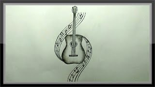 pencil easy drawing guitar step