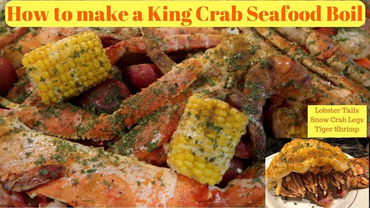 HOW TO MAKE A SEAFOOD BOIL | How to cook King Crab Legs, Snow Crab Legs,  Lobster Tails ,Tiger shrimp