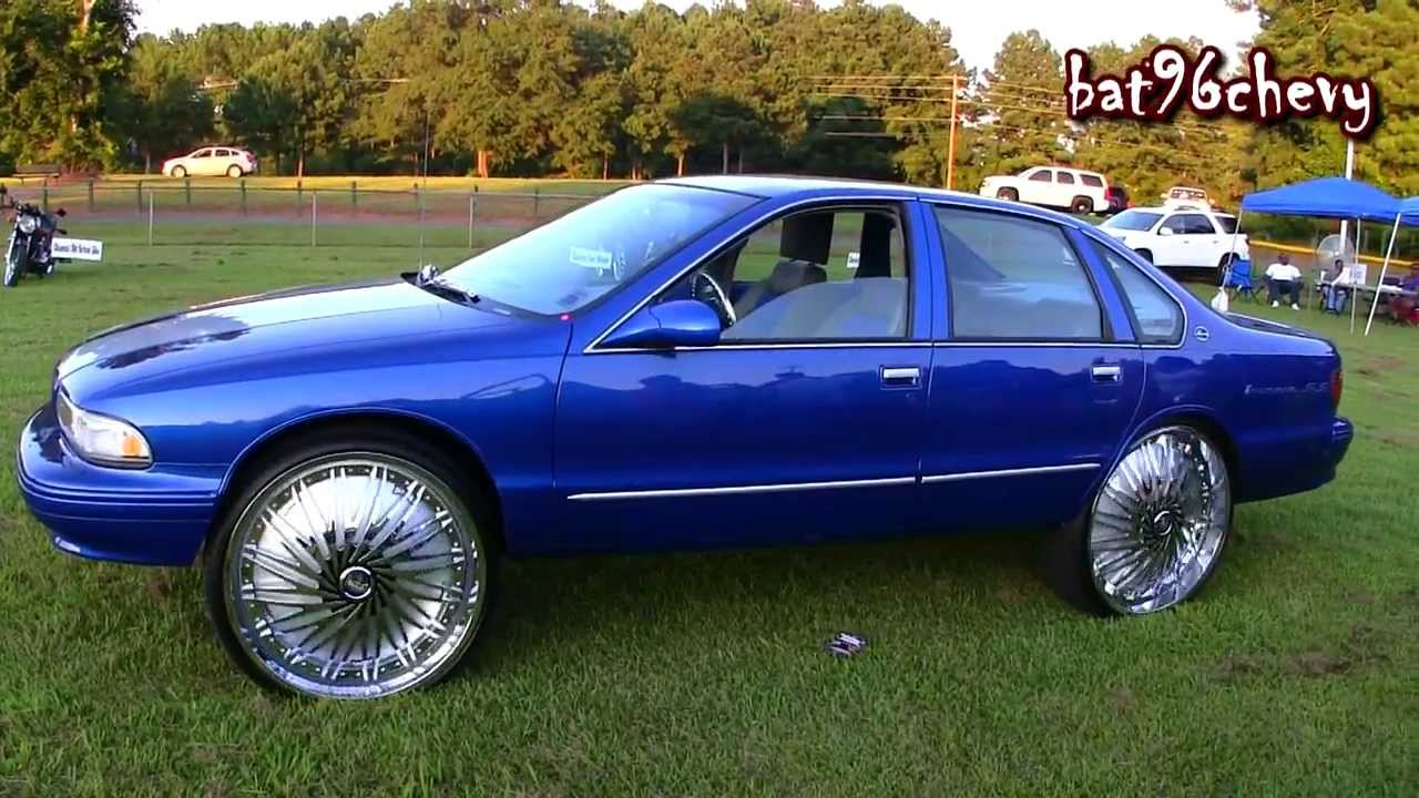 Blue Silver 96 Impala Ss On 28 Quot Dub Rebellion Floaters