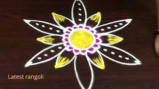 sravanamasam special beautiful sunflower rangoli designs || freehand rangoli desigs